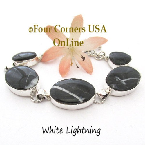 White Lightning Adjustable Length Link Bracelet Navajo Artisan Lyle Piaso NALB-1419 Four Corners USA OnLine Native American Jewelry