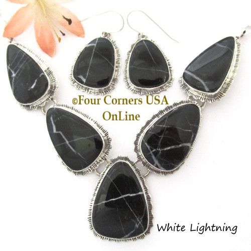 On Sale Now White Lightning Marble Necklace Earring Jewelry Set Navajo Lyle Piaso NAN-1448 Four Corners USA OnLine Native American Silver Jewelry