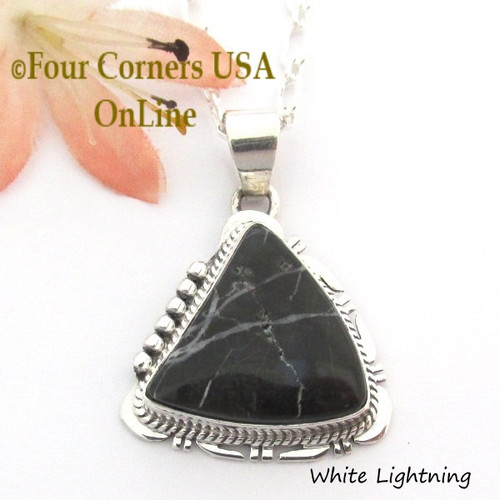 On Sale Now White Lightning Pendant 18 Inch Necklace Navajo John Nelson NAP-1703 Four Corners USA OnLine Native American Jewelry