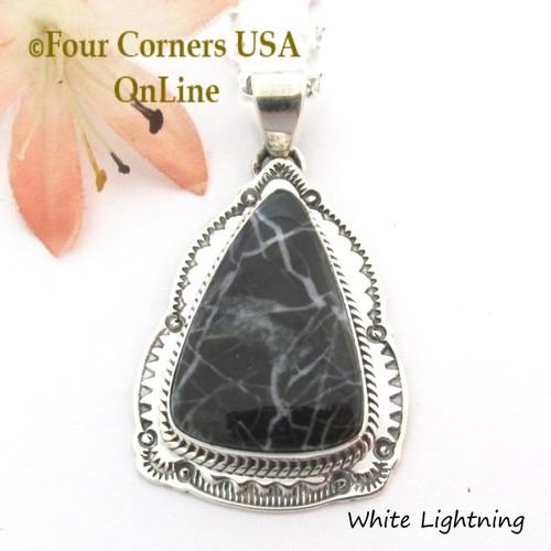 On Sale Now White Lightning Pendant 18 Inch Necklace Navajo Joe Piaso Jr NAP-1704 Four Corners USA OnLine Native American Jewelry