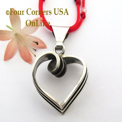 Sterling Heart Pendant Long Satin Cord Necklace Navajo Artisan Tom Hawk NAP-1705 Four Corners USA OnLine Native American Silver Jewelry