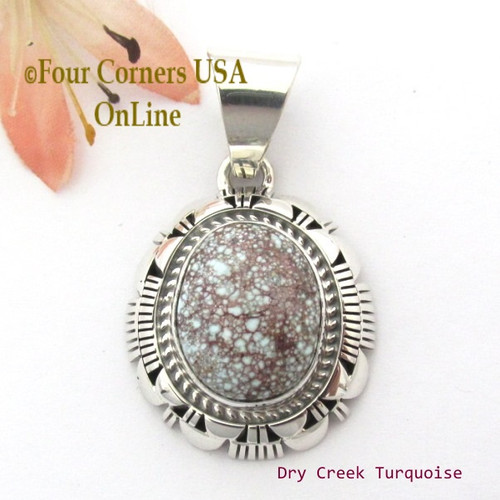 Dry Creek Turquoise Sterling Pendant Navajo Artisan Larry Moses Yazzie NAP-1698 Four Corners USA OnLine Native American Silver Jewelry