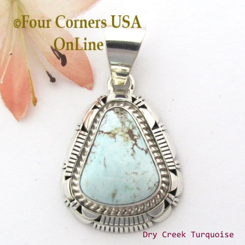 Dry Creek Turquoise Sterling Pendant Navajo Artisan Larry Moses Yazzie NAP-1700 Four Corners USA OnLine Native American Silver Jewelry