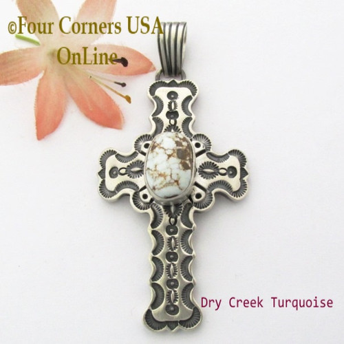 Dry Creek Turquoise Sterling Cross Pendant Navajo Artisan Jereme Delgarito NACR-1427 Four Corners USA OnLine Native American Jewelry