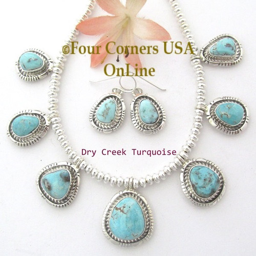 Dry Creek Turquoise Silver Bead Necklace Earring Fine Jewelry Set Navajo Robert Concho NAN-1449 Four Corners USA OnLine Native American Jewelry