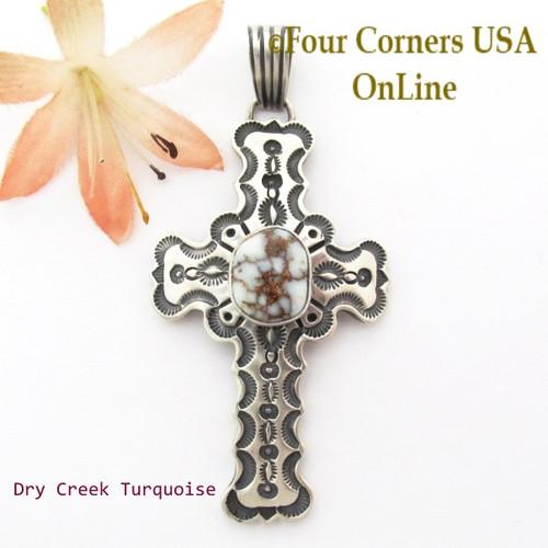 On Sale Now Dry Creek Turquoise Sterling Cross Pendant Navajo Artisan Jereme Delgarito NACR-1430 Four Corners USA OnLine Native American Jewelry