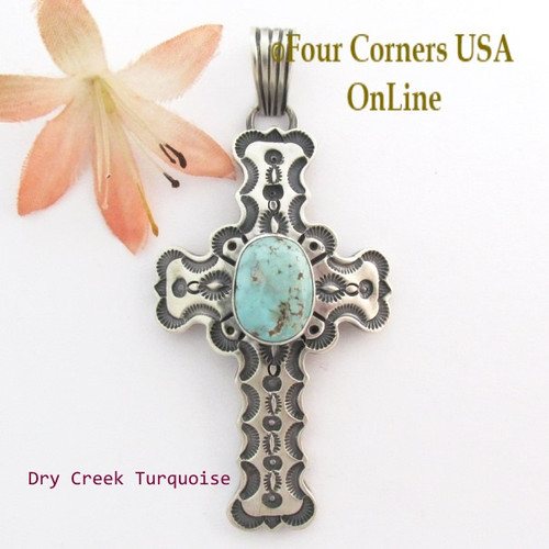 On Sale Now Dry Creek Turquoise Stamped Cross Pendant Navajo Artisan Jereme Delgarito NACR-1432 Four Corners USA OnLine Native American Jewelry