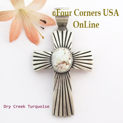 Dry Creek Turquoise Sunburst Cross Pendant Navajo Artisan Jereme Delgarito NACR-1433 Four Corners USA OnLine Native American Jewelry