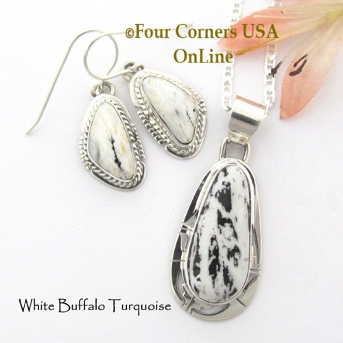 White Buffalo Turquoise Earrings Pendant 18 Inch Necklace Set Navajo Phillip Sanchez NAP-1707 Four Corners USA OnLine Native American Silver Jewelry