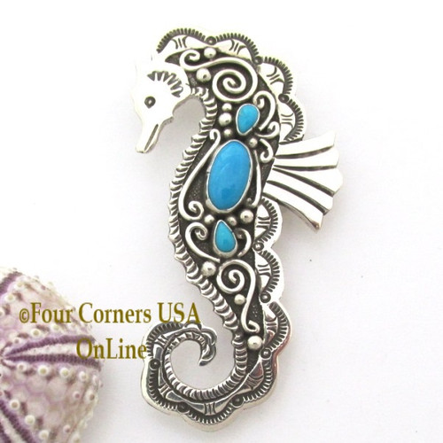 Silver Turquoise SeaHorse Pin Brooch Pendant Navajo Lee Charley NAP-1727 On Sale Now at Four Corners USA OnLine Native American Jewelry