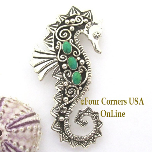 Silver Gaspeite Seahorse Pin Brooch Pendant Navajo Lee Charley NAP-1729 Four Corners USA OnLine Native American Jewelry