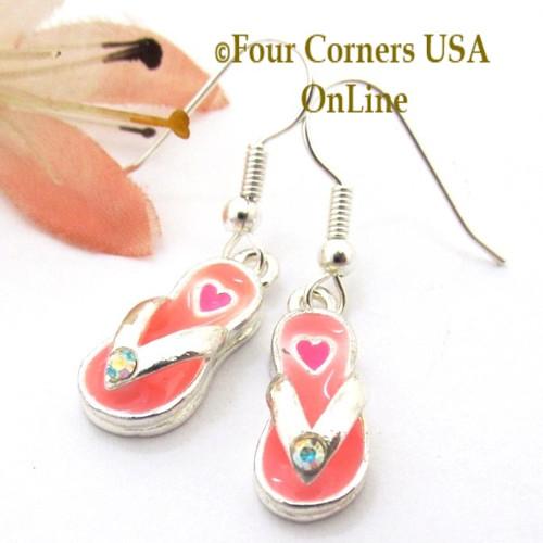 Pink Flip Flop Heart Sandal Earrings EAR-1606 American Artisan Handcrafted Fashion Jewelry Four Corners USA OnLine