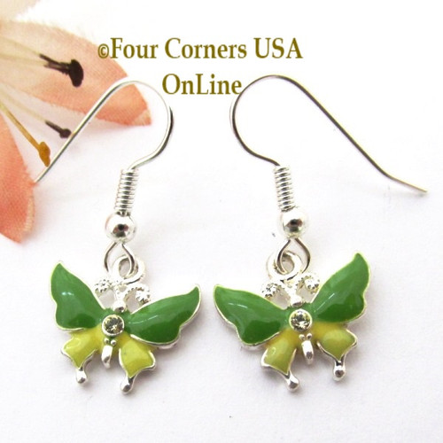 Green and Yellow Butterfly Earrings EAR-1603 American Artisan Handcrafted Fashion Jewelry Four Corners USA OnLine