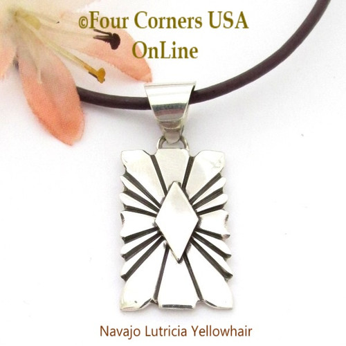 On Sale Silver Sunburst Pendant Adjustable Necklace Navajo Lutricia Yellowhair NAP-1736 Four Corners USA OnLine Native American Jewelry