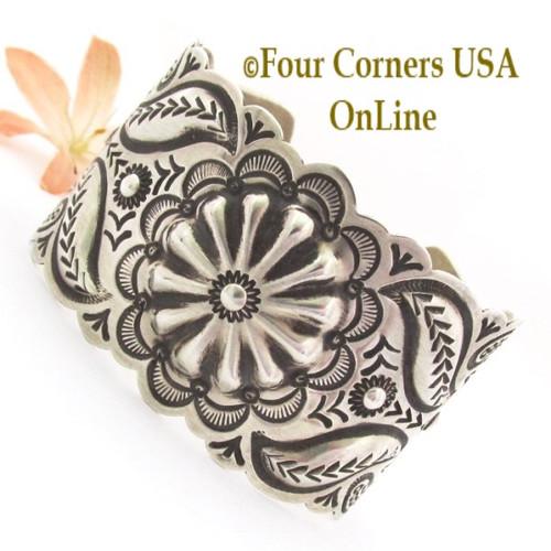 Wide Repousse Stamped Silver Cuff Bracelet Navajo Jeweler Arnold Blackgoat BRAC-09469 Four Corners USA OnLine Native American Jewelry