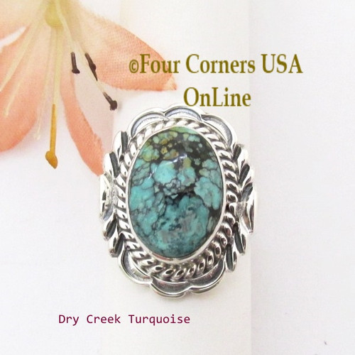 Size 6 1/2 Dry Creek Turquoise Sterling Ring Navajo Artisan Virgil Chee NAR-1895 Four Corners USA OnLine Native American Silver Jewelry