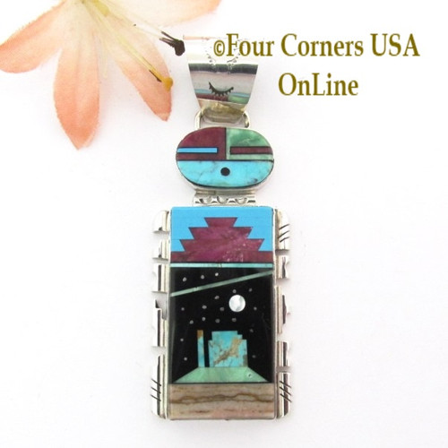 Sunface Starry Night Pendant Navajo Artisan Calvin Desson NAP-1740 Four Corners USA Online Native American Jewelry