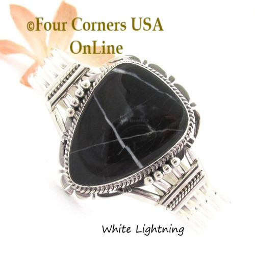 White Lightning Natural Marble Cuff Bracelet Native American Silver Jeweler John Nelson NAC-1462 Four Corners USA OnLine Native American Jewelry