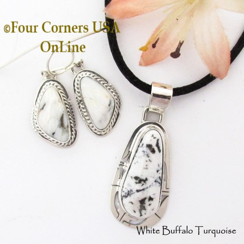 White Buffalo Earrings Pendant 17 Inch Adjustable Necklace Set Navajo Phillip Sanchez NAP-1712 Four Corners USA OnLine Native American Silver Jewelry