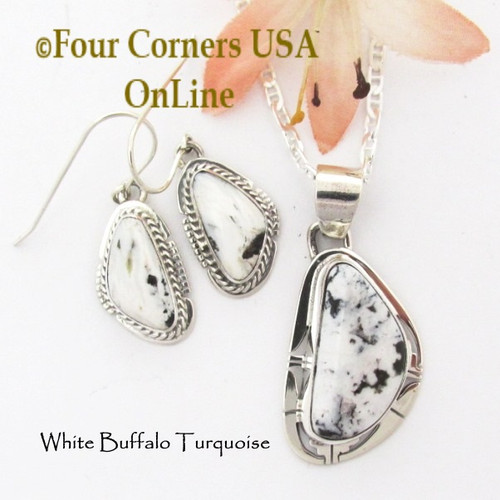 White Buffalo Turquoise Earrings Pendant 18 Inch Necklace Set Navajo Phillip Sanchez NAP-1710 Four Corners USA OnLine Native American Silver Jewelry