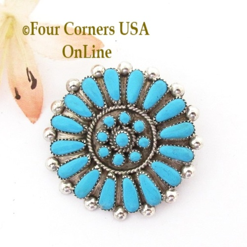 Turquoise Cluster Pin Pendant Combo Native American Zuni MK NAP-1744 Four Corners USA OnLine Native American Jewelry