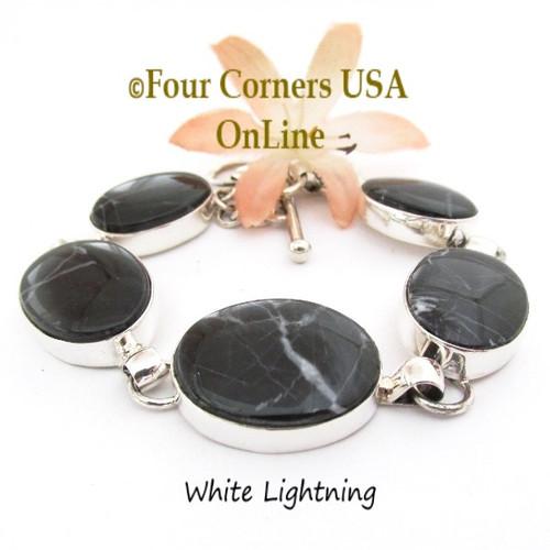 On Sale Now White Lightning Adjustable Length Link Bracelet Navajo Jeweler Lyle Piaso NALB-1420 Four Corners USA OnLine Native American Silver Jewelry