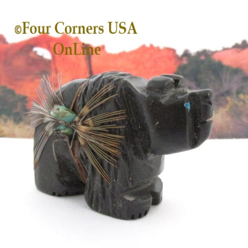 Carved Slate Bear Figurine Native American Navajo Artisan Phil Corley NAM-1303-3 Four Corners USA OnLine