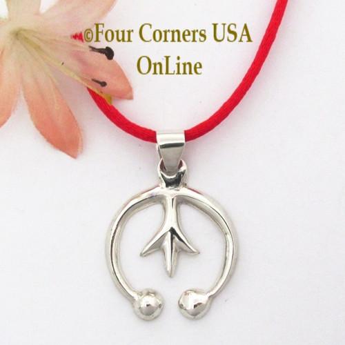 Petite Silver Naja Pendant 24 Inch Neckcord Navajo Artisan Isabelle Kee NAP-1691 Four Corners USA OnLine Native American Jewelry