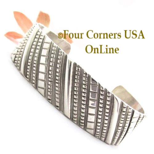 On Sale Now Contemporary All Sterling Silver Cuff Bracelet Navajo Jeweler Tillie Jon NAC-1451 Four Corners USA OnLine Native American Jewelry