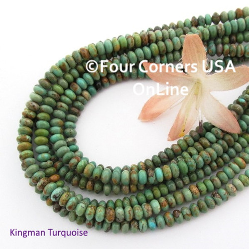 5mm Rondelle Green Kingman Turquoise Beads 16 Inch Strand TQ-17101 Four Corners USA OnLine Jewelry Making Beading Supplies