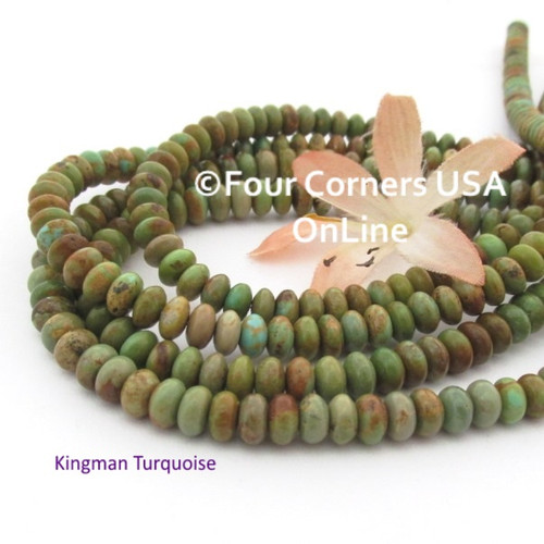 6mm Rondelle Green Copper Kingman Turquoise Beads 16 Inch Strands TQ-17103 Four Corners USA OnLine Jewelry Making Beading Supplies