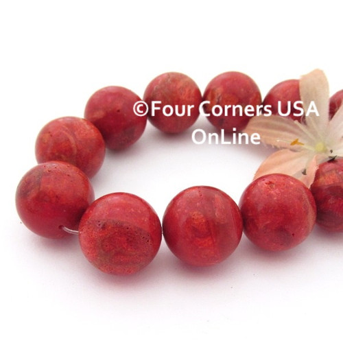 18mm Round Apple Coral Organic Beads 16 Inch Strand AC-13020 Four Corners USA OnLine Jewelry Making Beading Supplies