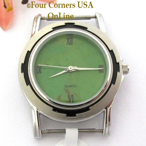 Men's 20M Mohave Green Kingman Turquoise Stone Watch Face 18mm pin NAWF-MG-20M Four Corners USA OnLine Southwest Jewelry Supplies