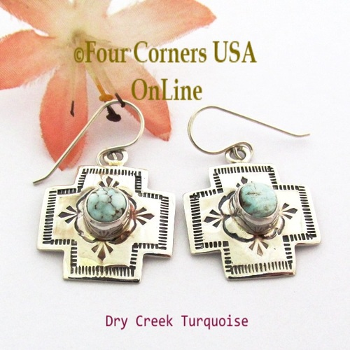 Dry Creek Turquoise Stamped Cross Earrings Navajo Silver Jewelry NAER-1571 Four Corners USA OnLine Native American Jewelry