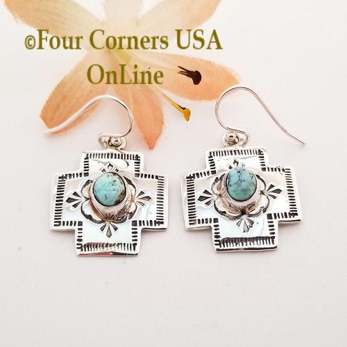 On Sale Now Dry Creek Turquoise Stamped Cross Earrings Navajo Silver Jewelry NAER-1567 Four Corners USA OnLine Native American Jewelry