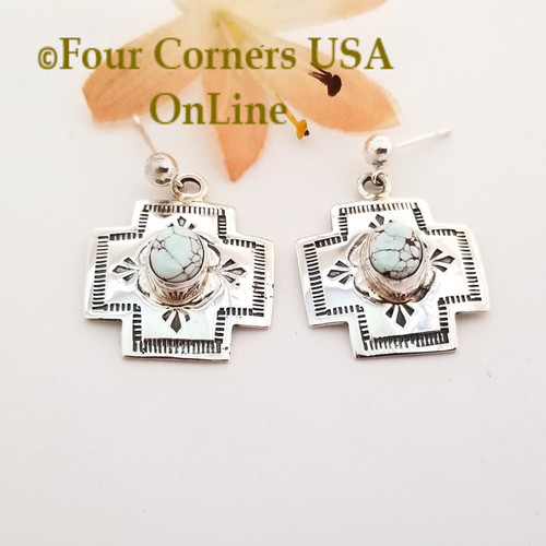 On Sale Now Dry Creek Turquoise Stamped Cross Earrings Navajo Silver Jewelry NAER-1568 Four Corners USA OnLine Native American Jewelry