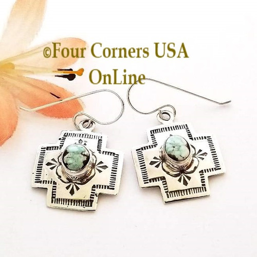 Dry Creek Turquoise Navajo Stamped Silver Dangle Earrings NAER-1572 Four Corners USA OnLine Native American Silver Jewelry