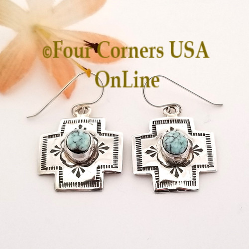 On Sale Now! Dry Creek Turquoise Navajo Stamped Silver Dangle Earrings NAER-1573 Four Corners USA OnLine Native American Silver Jewelry