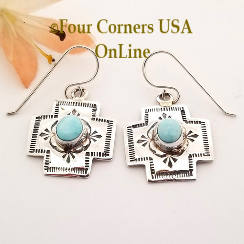 On Sale Now! Dry Creek Turquoise Navajo Stamped Silver Dangle Earrings NAER-1574 Four Corners USA OnLine Native American Silver Jewelry