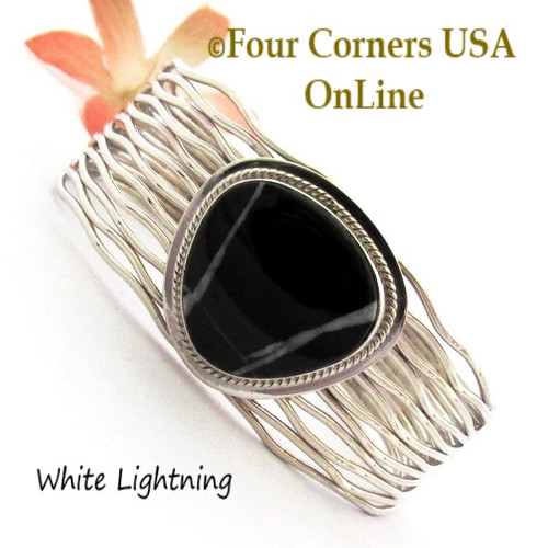 Black White Lightning Cuff Bracelet Navajo Murphy Platero NAC-1463 Four Corners USA OnLine Native American Jewelry