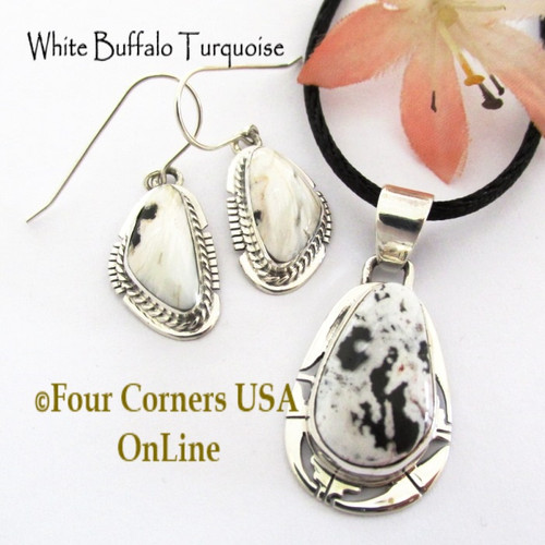 White Buffalo Earrings Pendant 15 Inch Adjustable Necklace Set Navajo Phillip Sanchez NAP-1717 Four Corners USA OnLine Native American Silver Jewelry