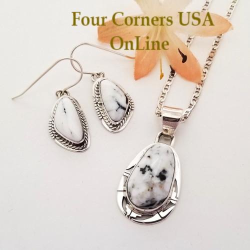 White Buffalo Earrings Pendant 18 Inch Necklace Set Navajo Phillip Sanchez NAP-1720 Four Corners USA OnLine Native American Silver Jewelry