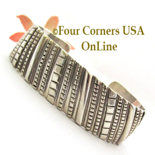 Contemporary All Sterling Silver Cuff Bracelet Navajo Tillie Jon NAC-1452 Four Corners USA OnLine Native American Jewelry