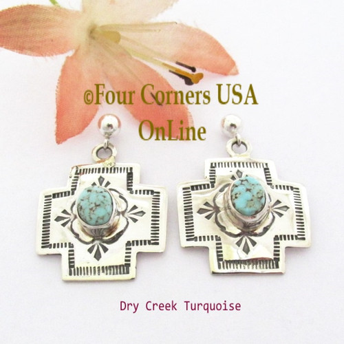 Dry Creek Turquoise Post Dangle Cross Earrings Navajo Silver Jewelry NAER-1551 Four Corners USA OnLine Native American Silver Jewelry