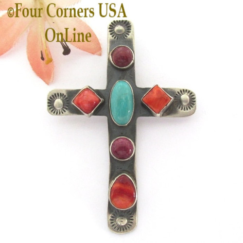 On Sale Now Multi Color Spiny Shell Turquoise Cross Navajo Artisan Robert Johnson NACR-1435 Four Corners USA OnLine Native American Silver Jewelry