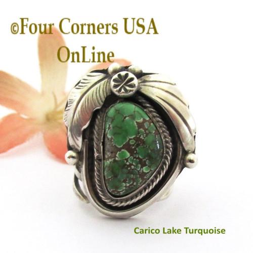 Size 5 1/2 Carico Lake Turquoise Ring Navajo Artisan Marie Tsosie NAR-9593 Four Corners USA OnLine Native American Silver TQ Jewelry