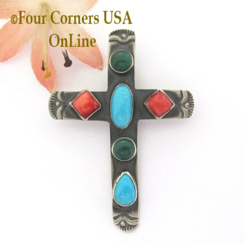 Malachite Spiny Turquoise Cross Navajo Robert Johnson NACR-1434 Four Corners USA OnLine Native American Silver Jewelry