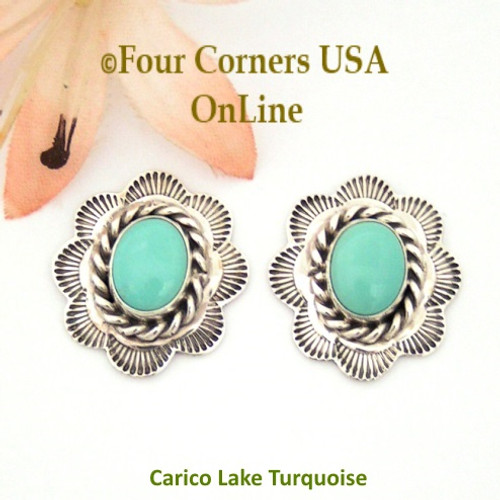 Carico Lake Turquoise Concho Earrings Navajo Darlene Platero No 5 NAER-130215 Four Corners USA OnLine Native American Silver Jewelry