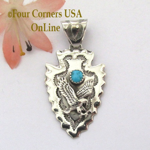 Arrowhead Eagle Sleeping Beauty Turquoise Sterling Pendant Navajo Alice Johnson item NAP-1479 Four Corners USA OnLine Turquoise Silver Native American Jewelers