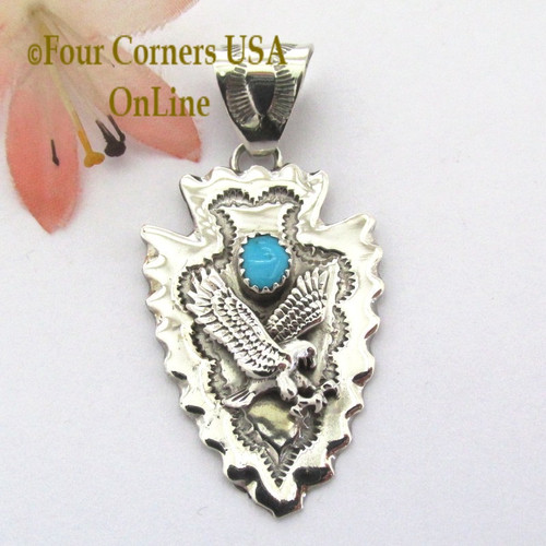 Arrowhead Eagle Turquoise Pendant Navajo Silversmith Alice Johnson NAP-1480 Four Corners USA OnLine Native American Silver and Turquoise Jewelers